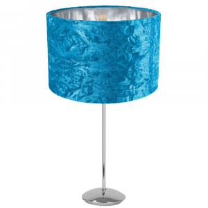 """Modern Chrome Plated Stick Table Lamp with 12"""" Teal Crushed Velvet Lamp Shade"""