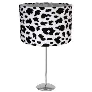 """Modern Chrome Plated Stick Table Lamp with 12"""" Brushable Velvet Cow Print Shade"""