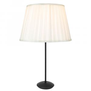 Contemporary Modern Matt Black Stick Table Lamp with Cream Faux Silk Lamp Shade