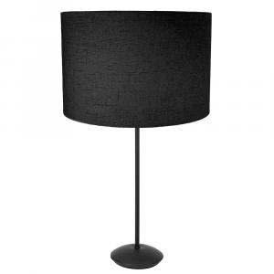 "Contemporary Matt Black Stick Table Lamp with 12"" Black Linen Drum Lamp Shade"