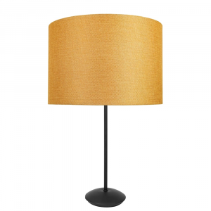 "Contemporary Matt Black Stick Table Lamp with 12"" Ochre Linen Drum Lamp Shade"