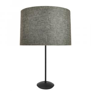 "Contemporary Matt Black Stick Table Lamp with 12"" Dark Grey Linen Lamp Shade"