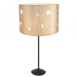 "Contemporary Matt Black Stick Table Lamp with 12"" Beige Stars Kids Lamp Shade"