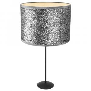 "Contemporary Matt Black Stick Table Lamp with 12"" Silver Glitter Lamp Shade"