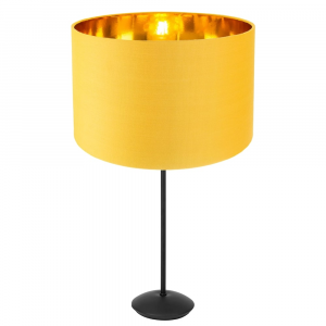 """Contemporary Matt Black Stick Table Lamp with 12"""" Ochre Shade with Gold Inner"""