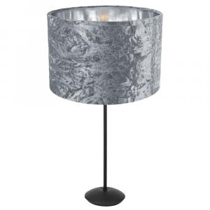 """Contemporary Matt Black Stick Table Lamp with 12"""" Silver Crushed Velvet Shade"""
