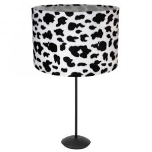 "Contemporary Matt Black Stick Table Lamp with 12"" Velvet Cow Print Shade"