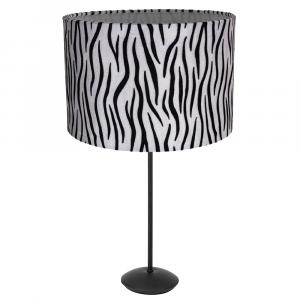 """Contemporary Matt Black Stick Table Lamp with 12"""" Velvet Zebra Print Lamp Shade"""