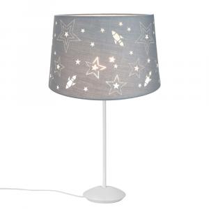 "Modern Matt White Stick Table Lamp with 12"" Grey Kids Stars Lamp Shade"
