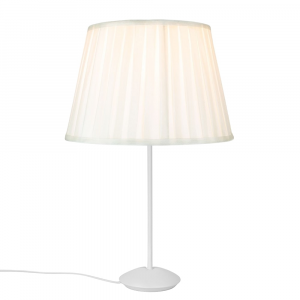 "Modern Matt White Stick Table Lamp with 12"" Cream Faux Silk Lamp Shade"