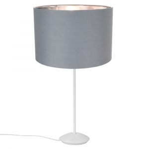 """Modern Matt White Stick Table Lamp with 12"""" Grey Cotton Shade with Shiny Inner"""