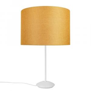 "Modern Matt White Stick Table Lamp with 12"" Ochre Linen Drum Lamp Shade"