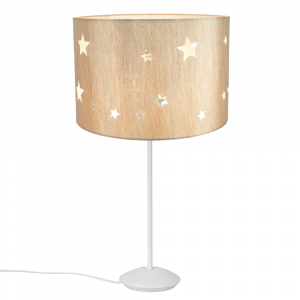 "Modern Matt White Stick Table Lamp with 12"" Beige Linen Stars Kids Lamp Shade"