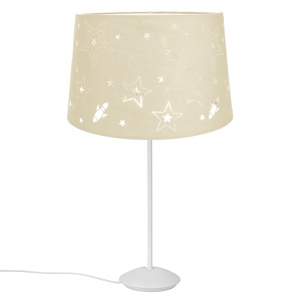 "Modern Matt White Stick Table Lamp with 12"" Cream Star Cotton Kids Lamp Shade"