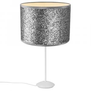 "Modern Matt White Stick Table Lamp with 12"" Bright Silver Glitter Lamp Shade"