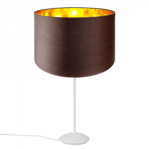 """Modern Matt White Stick Table Lamp with 12"""" Brown Shade with Shiny Inner"""