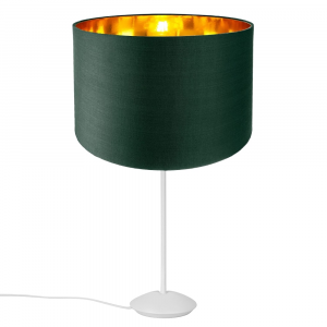 """Modern Matt White Stick Table Lamp with 12"""" Green Shade with Shiny Inner"""