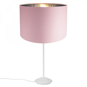 """Modern Matt White Stick Table Lamp with 12"""" Pink Cotton Shade with Shiny Inner"""