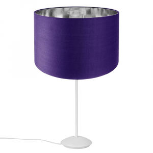 """Modern Matt White Stick Table Lamp with 12"""" Purple Cotton Shade with Shiny Inner"""