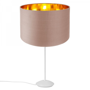 """Modern Matt White Stick Table Lamp with 12"""" Taupe Lamp Shade with Copper Inner"""