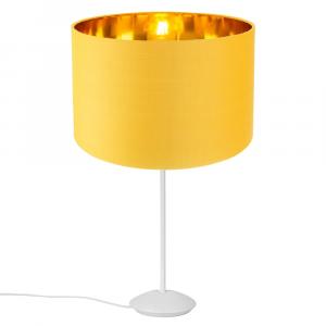 "Modern Matt White Stick Table Lamp with 12"" Ochre Lamp Shade with Gold Inner"