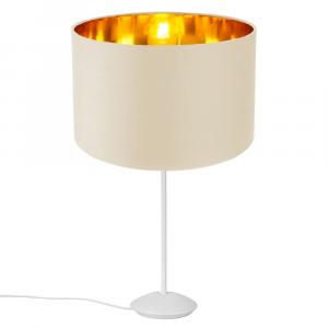 "Modern Matt White Stick Table Lamp with 12"" Cream Lamp Shade with Copper Inner"