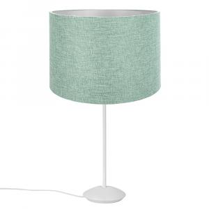 "Modern Matt White Stick Table Lamp with 12"" Mint Linen Fabric Drum Shade"