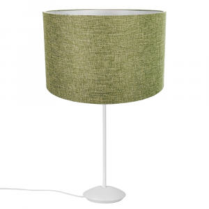 """Modern Matt White Stick Table Lamp with 12"""" Olive Sage Fabric Drum Shade"""