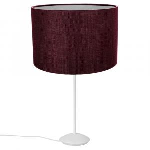 "Modern Matt White Stick Table Lamp with 12"" Purple Linen Drum Lamp Shade"