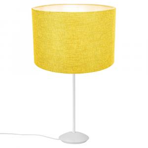 "Modern Matt White Stick Table Lamp with 12"" Yellow Linen Drum Lamp Shade"