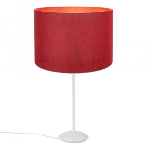 "Modern Matt White Stick Table Lamp with 12"" Red Linen Drum Lamp Shade"