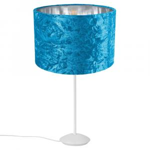 """Modern Matt White Stick Table Lamp with 12"""" Teal Crushed Velvet Lamp Shade"""