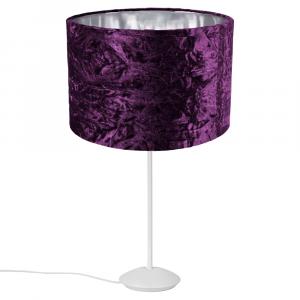 """Modern Matt White Stick Table Lamp with 12"""" Purple Crushed Velvet Lamp Shade"""