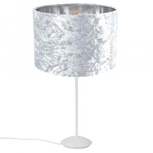 """Modern Matt White Stick Table Lamp with 12"""" White Crushed Velvet Lamp Shade"""