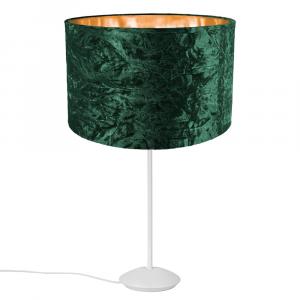 """Modern Matt White Stick Table Lamp with 12"""" Green Velvet Shade with Shiny Inner"""