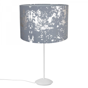 """Modern Matt White Stick Table Lamp with 12"""" Grey Cotton Silver Foil Shade"""