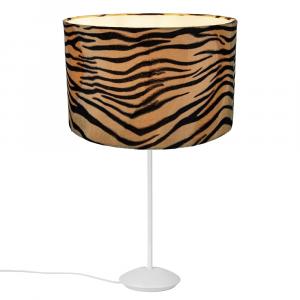 """Modern Matt White Stick Table Lamp with 12"""" Brushable Velvet Tiger Print Shade"""