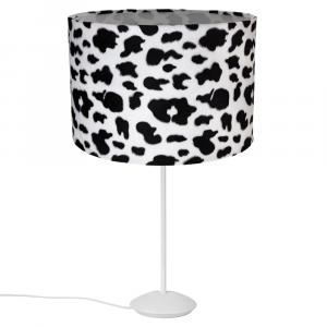 """Modern Matt White Stick Table Lamp with 12"""" Brushable Velvet Cow Print Shade"""