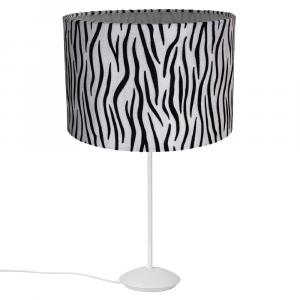 """Modern Matt White Stick Table Lamp with 12"""" Brushable Velvet Zebra Lamp Shade"""