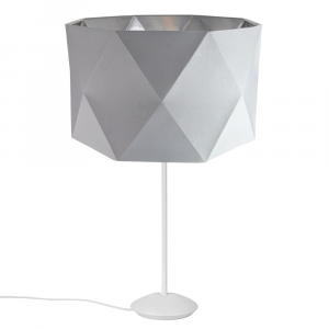 """Modern Matt White Stick Table Lamp with 12"""" Geometric Shade with Silver Lining"""