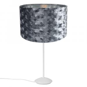 """Modern Matt White Stick Table Lamp with 12"""" Grey Hammered Velvet Shade"""