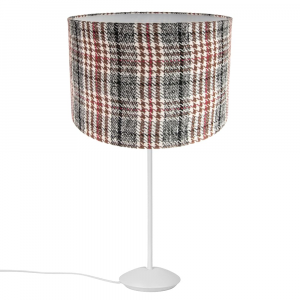 """Modern Matt White Stick Table Lamp with 12"""" Red and Brown Tartan Drum Shade"""