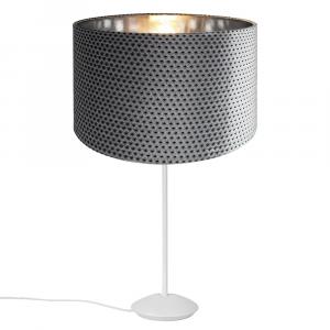 "Modern Matt White Stick Table Lamp with 12"" Dimpled Velvet Grey/Silver Shade"