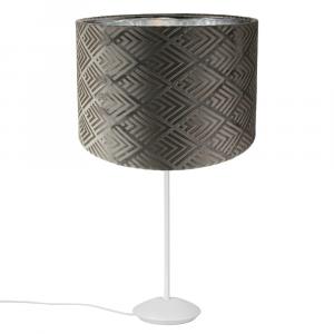"""Modern Matt White Stick Table Lamp with 12"""" Designer Grey Velvet Shade"""