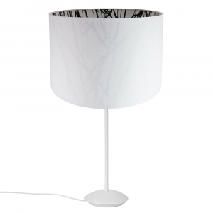 """Modern Matt White Stick Table Lamp with 12"""" White Forest Patterned Shade"""