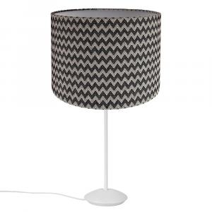 "Modern Matt White Stick Table Lamp with 12"" Zig-Zag Cotton Shade"