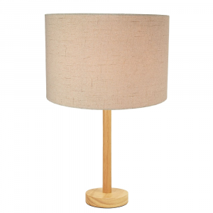 """Stylish Light Rubber Wood Table Lamp with 12"""" Taupe Linen Drum Lamp Shade"""