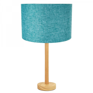 """Stylish Light Rubber Wood Table Lamp with 12"""" Teal Linen Drum Lamp Shade"""
