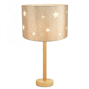 """Stylish Light Rubber Wood Table Lamp with 12"""" Beige Linen Stars Kids Lamp Shade"""