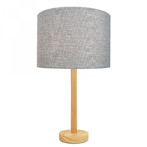 """Stylish Light Rubber Wood Table Lamp with 12"""" Light Grey Drum Lamp Shade"""